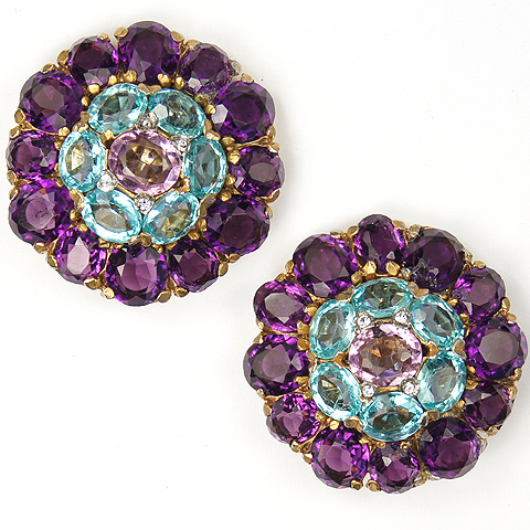 KTF Trifari 'Alfred Philippe' Aquamarine and Amethyst Floral Button Clip Earrings
