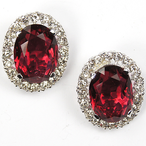 Trifari 'Alfred Philippe' Pave and Ruby 'Duck' Clip Earrings