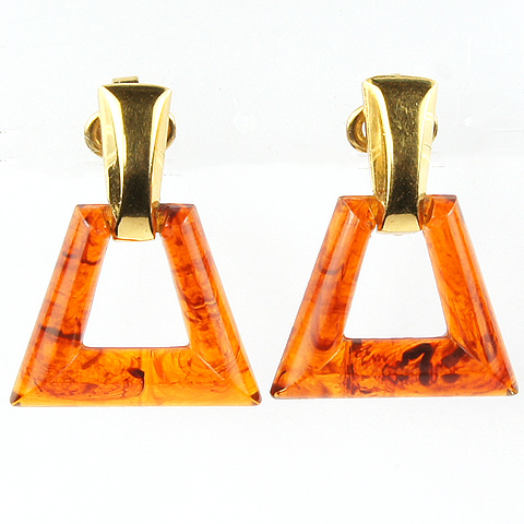 Trifari Gold and Faux Tortoiseshell Trapeziums Pendant Clip Earrings