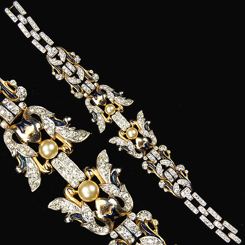 Trifari 'Alfred Philippe' 'Empress Eugenie' Pave and Pearls Floral Bracelet