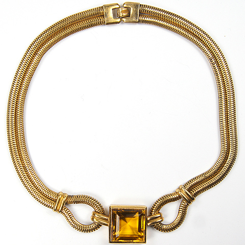 Trifari 'Alfred Philippe' Gold Square Cut Citrine and Knotted Gaspipes Necklace