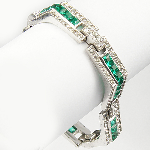 KTF Trifari 'Alfred Philippe' Pave and Invisibly Set Emerald Chevrons Bracelet