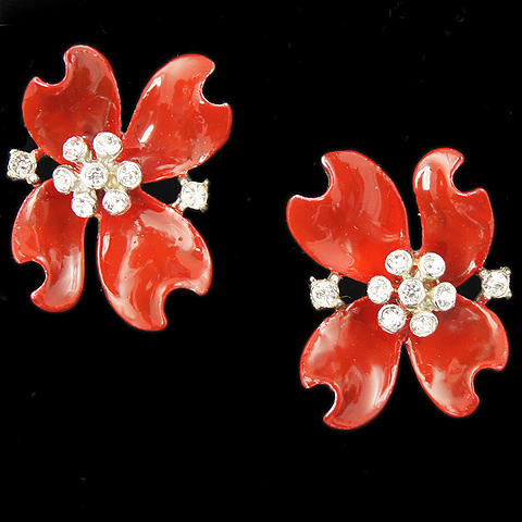 Trifari 'Alfred Philippe' Red Enamelled Dogwood Flowers Clip Earrings