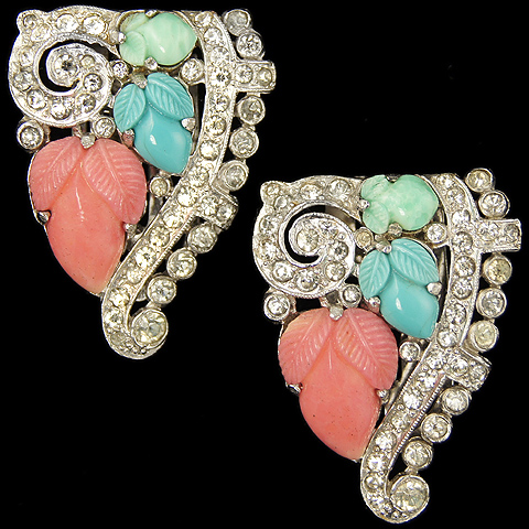 KTF Trifari 'Alfred Philippe' Pair of Pave Swirl and Turquoise, Coral and Jade Fruit Salads Dress Clips