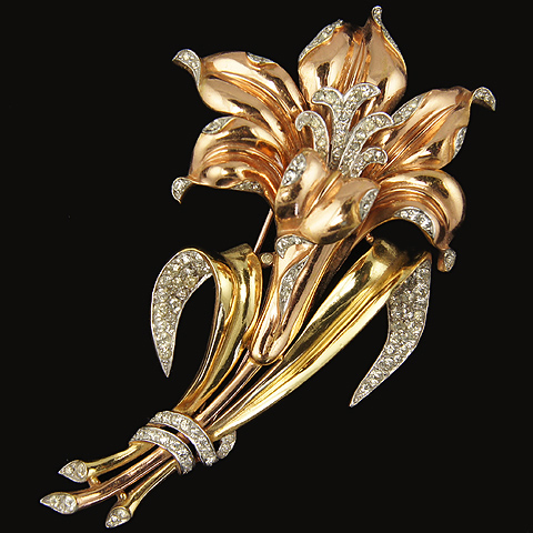 Trifari 'Alfred Philippe' Two Colour Gold and Pave Giant Lily Pin Clip