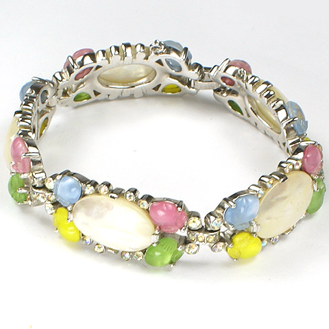 Trifari 'Alfred Philippe' Four Colour Pastel Fruit Salads Aurora Borealis and Mother of Pearl Bracelet