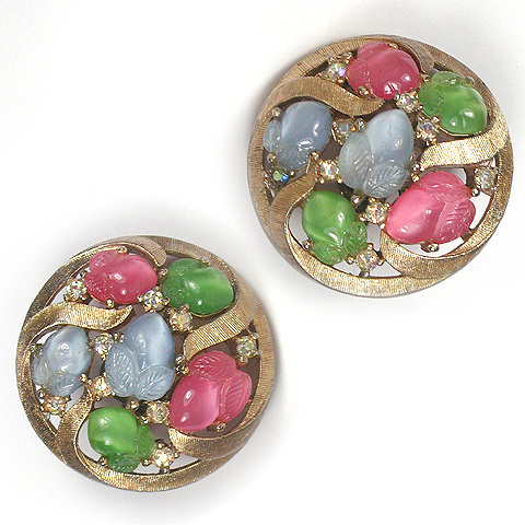 Trifari Gold Pastel Three Colour Fruit Salads Circle Clip Earrings