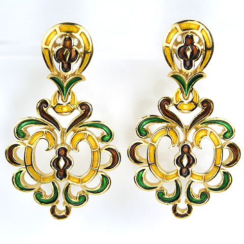 Trifari Gold and Metallic Enamel Scrolled Crests Pendant Clip Earrings