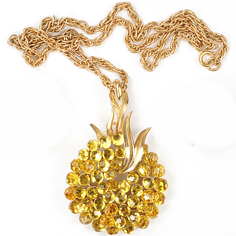 Trifari Gold Leaves and Citrine Fruit Pendant Necklace