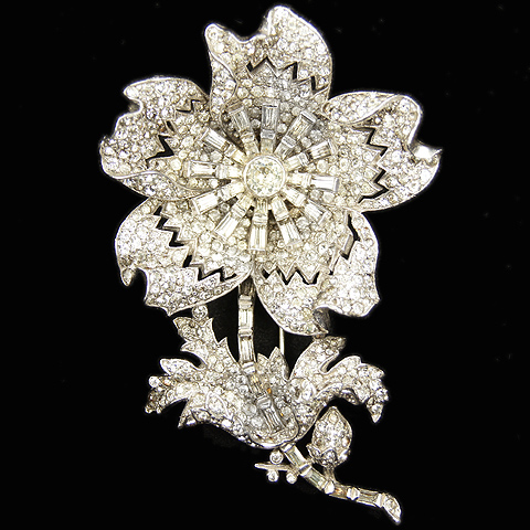 Trifari 'Alfred Philippe' Large Pave and Baguettes Flower Pin Clip