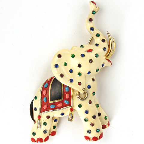 Trifari 'Alfred Philippe' Enamel and Multicolour Cabochons White Circus Elephant Pin