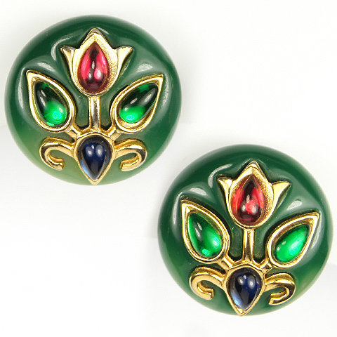 Trifari Jade, Gold Flowers and Multicolour Teardrop Cabochons Button Clip Earrings
