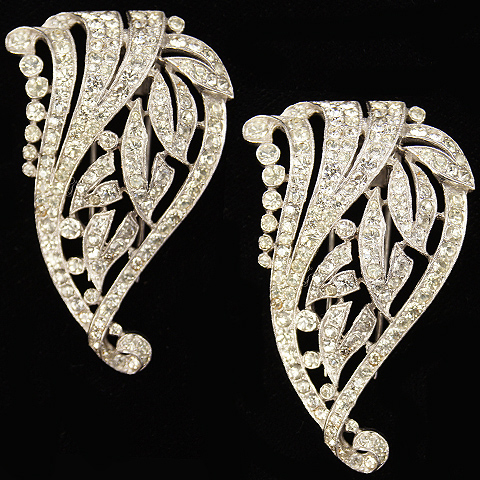 Trifari 'Alfred Philippe' Pair of Deco Pave Leaf Scroll Pin Clips