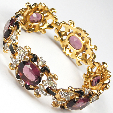 Trifari 'Alfred Philippe' Gold Amethyst and Black Enamel Pave Scrolls Link Bracelet