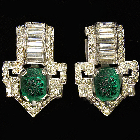 KTF Trifari 'Alfred Philippe' Deco Emerald Fruit Salads Pair of Pave and Baguette Chevrons Dress Clips