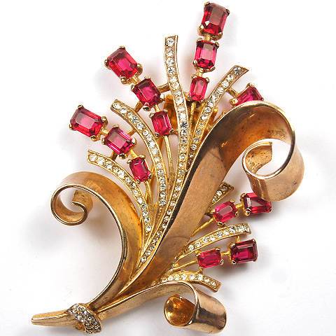 Trifari Sterling 'Alfred Philippe' Gold Pave and Ruby Floral Swirl Spray Pin Clip