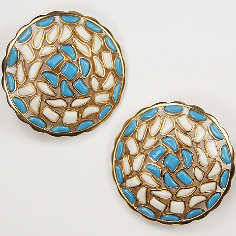 Trifari 'Alfred Philippe' 'Modern Mosaics' White and Blue Poured Glass Giant Circles Clip Earrings