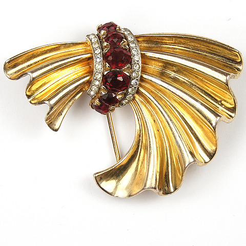 Trifari  Sterling 'Alfred Philippe' Rubies and Golden Swag Pin Clip