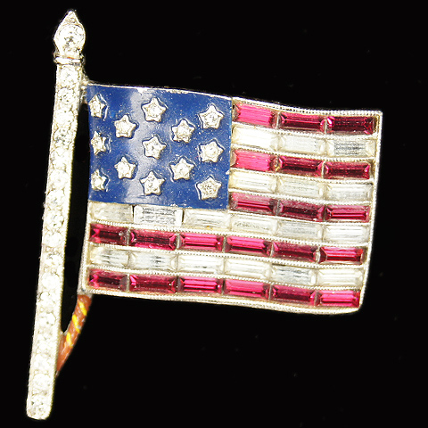 Trifari 'Alfred Philippe' WW2 US Patriotic Stars and Baguette Stripes Flag Pin