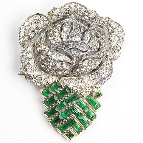 KTF Trifari 'Alfred Philippe' Pave Sculpted Openwork Rose on Invisibly Set Emerald Chevron Deco Stylized Leaf Dress Clip