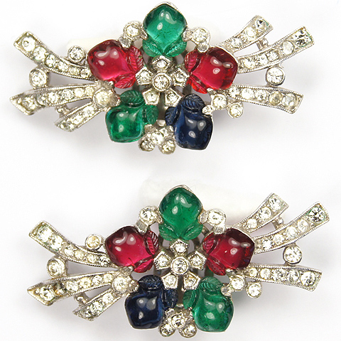 Trifari 'Alfred Philippe' Pave Branches and Tricolour Fruit Salad Flower Clip Earrings