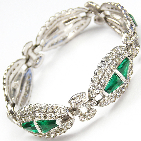 KTF Trifari 'Alfred Philippe' Trapezoid Cut Emeralds and Pave Deco Link Bracelet