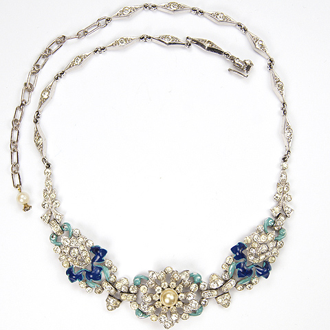 Trifari 'Alfred Philippe' Pave Pearl and Blue Enamel Flowers and Leaves Necklace