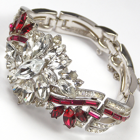Trifari 'Alfred Philippe' Diamante Chaton Flower Cluster and Invisibly Set Ruby and Pave Stripes Bracelet