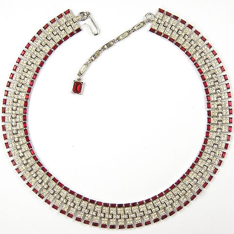 Trifari 'Alfred Philippe' Pave and Ruby Baguettes Deco Style Interlinked Tesselations Choker Necklace