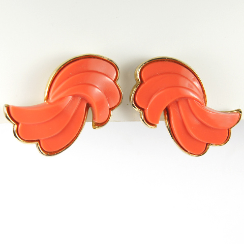 Trifari Gold and Coral Swirls Clip Earrings