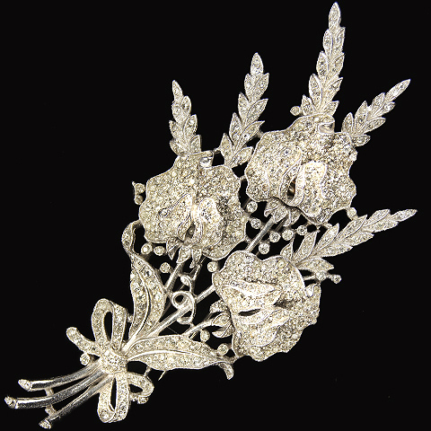 Trifari 'Alfred Philippe' Pave Triple Floral Spray with Bow Pin Clip