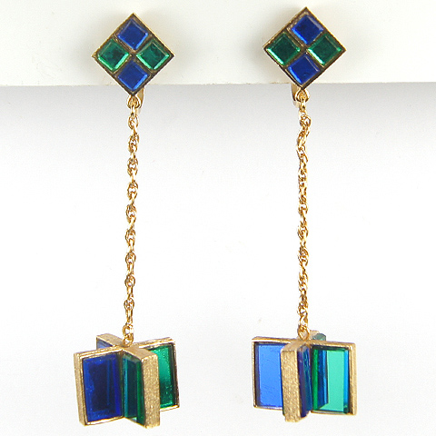 Trifari Emerald and Sapphire Mirrors Mobile Pendant Clip Earrings
