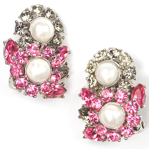 Trifari 'Alfred Philippe' Pink Topaz Black Diamond and Pearls Clip Earrings