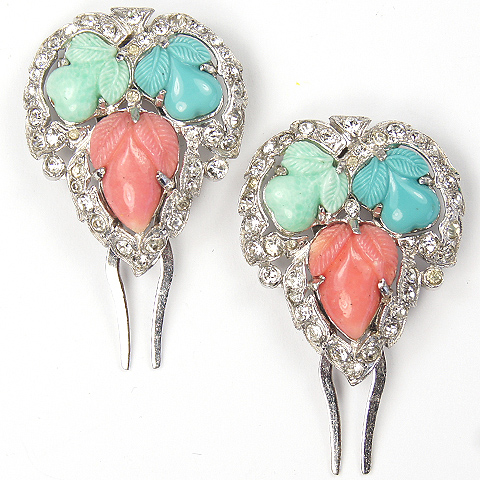 KTF Trifari 'Alfred Philippe' Pair of Pave Jade Turquoise and Coral Fruit Salad Hair Slides