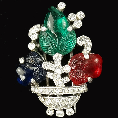 Trifari 'Alfred Philippe' Tricolour Fruit Salad Flower Vase Pin Clip