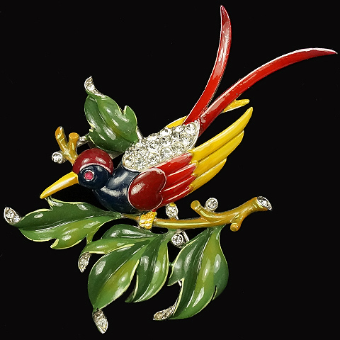 Trifari 'Alfred Philippe' Large Enamelled Bird on a Branch Pin Clip