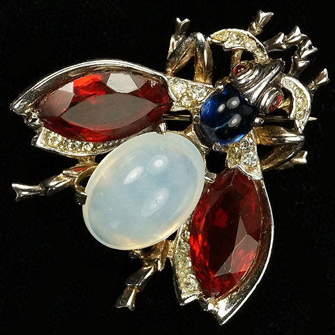 Trifari Sterling 'Alfred Philippe' Sapphire Ruby and Moonstone Cabochon Belly Bug Pin
