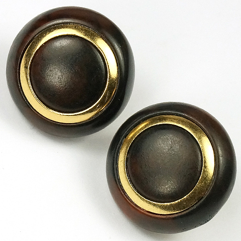 Trifari Gold and Faux Tortoiseshell Button Clip Earrings