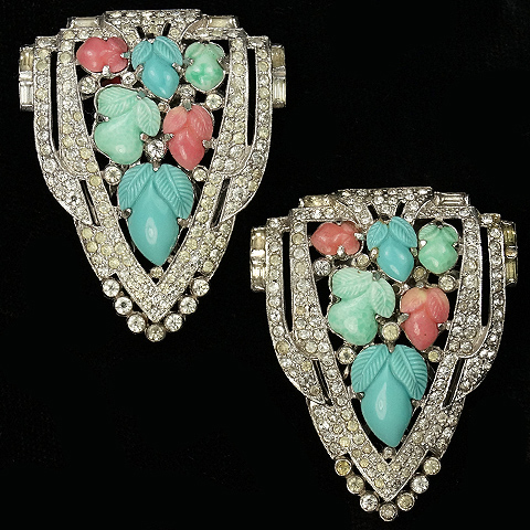 KTF Trifari 'Alfred Philippe' Deco Shield Turquoise and Coral Fruit Salads Pair of Dress Clips