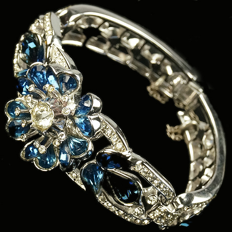 Trifari 'Alfred Philippe' Pave and Teardrop Sapphires Articulated Three Link Flower Bangle Bracelet