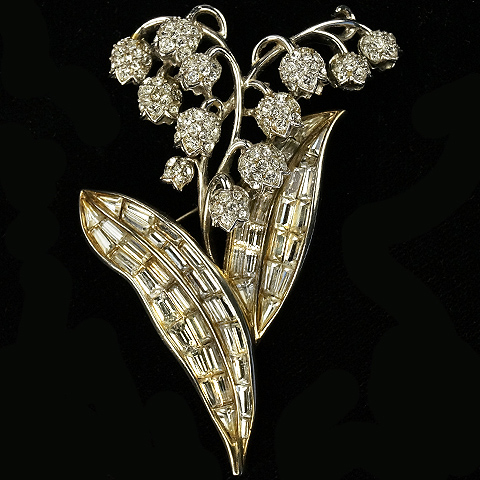 Trifari 'Alfred Philippe' Pave Lily of Valley with Baguette Leaves Pin