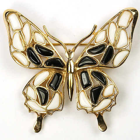 Trifari 'Alfred Philippe' 'Modern Mosaics' Black and White Poured Glass Butterfly Pin