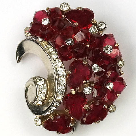 Trifari 'Alfred Philippe' Ruby Fruit Salads Right-handed Swirl Pin Clip