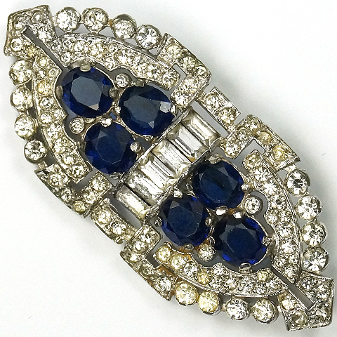 KTF Trifari 'Alfred Philippe' Pave Baguettes and Sapphires Deco Pin