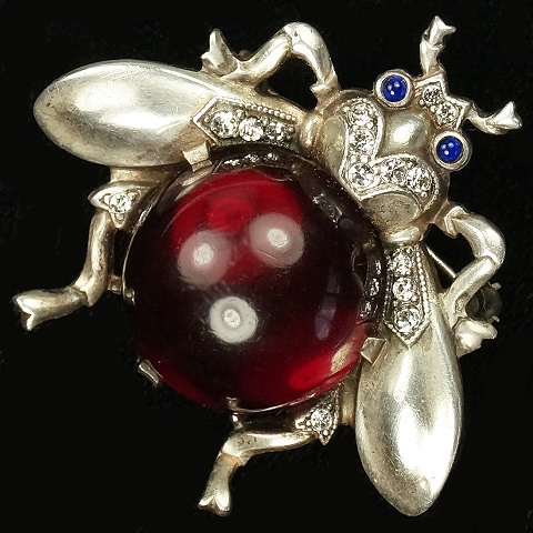 Trifari Sterling 'Alfred Philippe' Ruby Jelly Belly Bug Pin