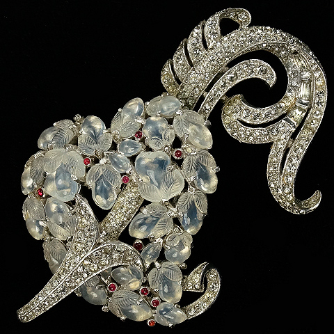 Trifari 'Alfred Philippe' 'Jewels of Fantasy' Pave Arrow piercing a Moonstone Fruit Salad Heart Pin Clip