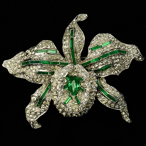 KTF Trifari 'Alfred Philippe' Pave and Emerald Orchid Trembler Pin
