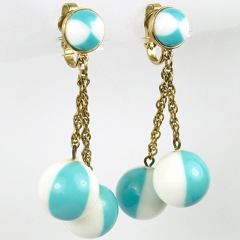 Trifari Turquoise and White Harlequin Spheres Pendant Clip Earrings