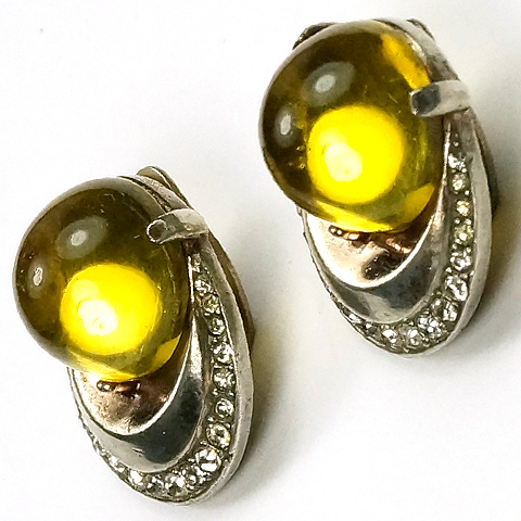 Trifari Sterling 'Alfred Philippe' 'Horseshoe' Yellow Lucite Jelly Belly Clip Earrings