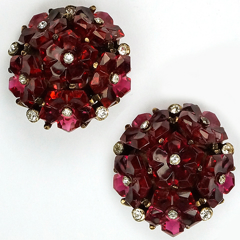 Trifari 'Alfred Philippe' Ruby Fruit Salads Cluster Button Clip Earrings